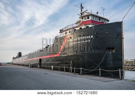 CLEVELAND, OH - SEPTEMBER 16, 2016: The William G.Mather steamship docked in Cleveland Ohio serves as a maritime museum