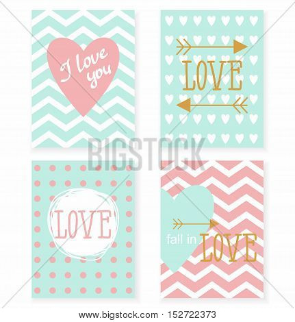 Set of cards for your design. Love. Cards for the holiday. Valentine's Day. Vector illustration.