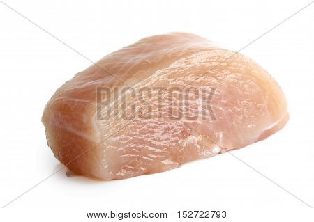 Half Cut Skinned Deboned Raw Chicken Breast Isolated On White.