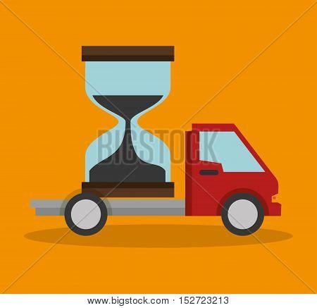 truck sand clock delivery concept design vector illustration