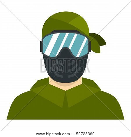 Paintball player icon. Flat illustration of paintball player vector icon for web design