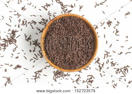 Chocolate Vermicelli. Chocolate Sprinkles on white background