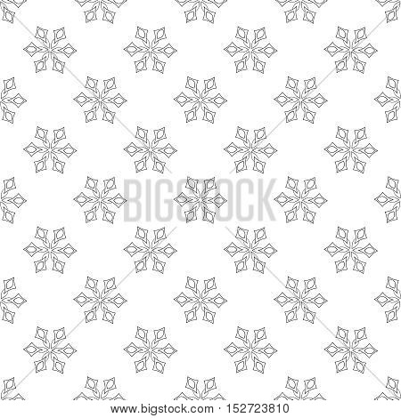Snowflakes seamless pattern, for adult anti stress coloring pages, art therapy, tattoo, greeting card, invitation. Vector illustration on white background. Hand drawn sketch.