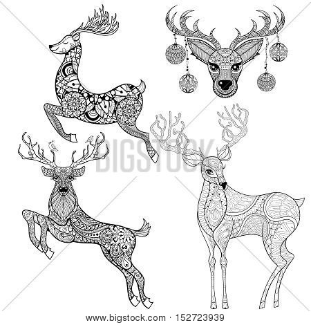 Christmas Reindeer set in patterned style for adult anti stress coloring pages, book, art therapy, tattoo. Vector illustration on white background. Hand drawn zentangle sketch.