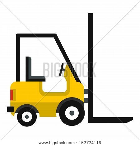 Yellow stacker loader icon. Flat illustration of stacker loader vector icon for web design