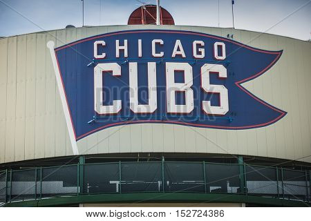Chicago, Illinois - October 7, 2016 Chicago Cubs Sign at Wrigley Field major league baseball team post season