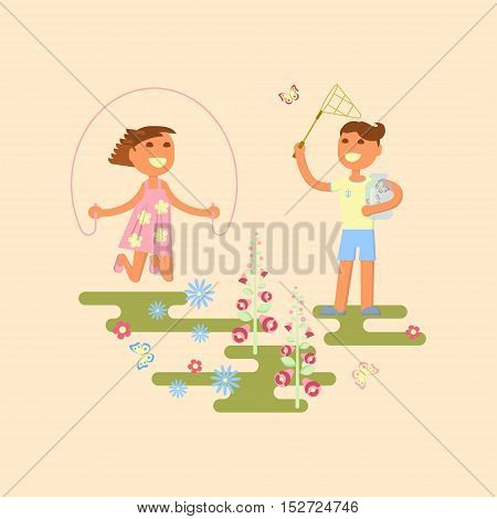 Illustration of kids playing outdoors in summer. Baby on a flower meadow - girl with skipping rope and boy is catching butterflies with a net. Flat design of season. Vector illustration eps