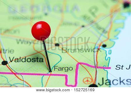 Fargo pinned on a map of Georgia, USA