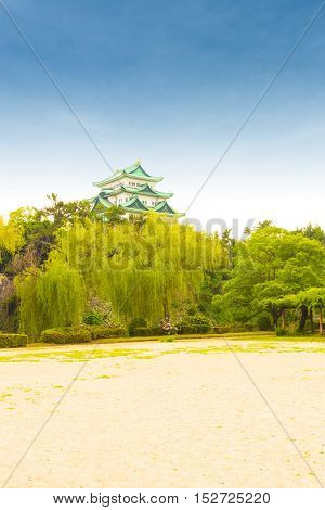Nagoya Castle Clear Blue Sky Day Above Treeline V