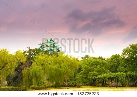Nagoya Castle Moody Sunset Sky Above Trees H