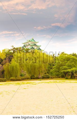 Nagoya Castle Sunset Sky Evening Above Trees V