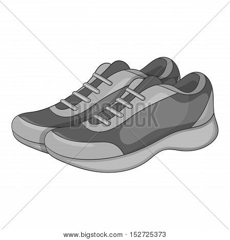 Sport sneakers icon. Gray monochrome illustration of sport sneakers vector icon for web