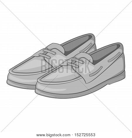 Denim loafers icon. Gray monochrome illustration of denim loafers vector icon for web