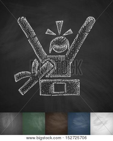 Joyful buyer girl icon. Hand drawn vector illustration. Chalkboard Design