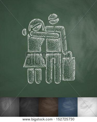 happy buyers icon. Hand drawn vector illustration. Chalkboard Design