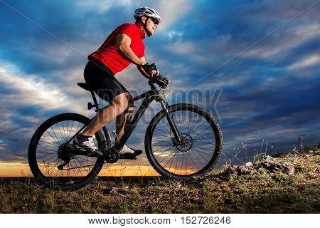 Mountain Bike Cyclist Riding Single Track