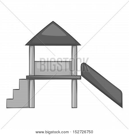 Slide house icon. Gray monochrome illustration of slide house vector icon for web