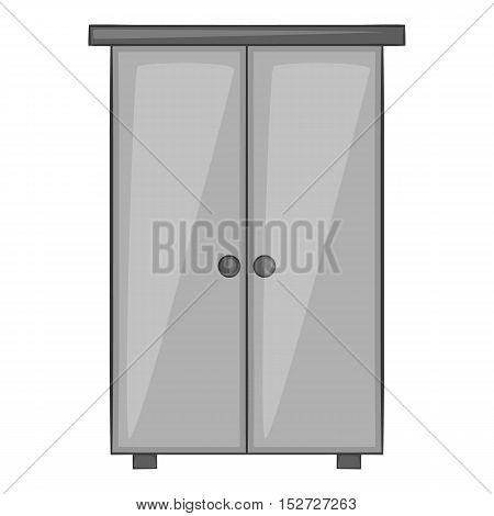 Wardrobe icon. Gray monochrome illustration of wardrobe vector icon for web