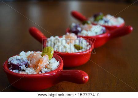 Menu degustação, Cuscuz de camarão para eventos