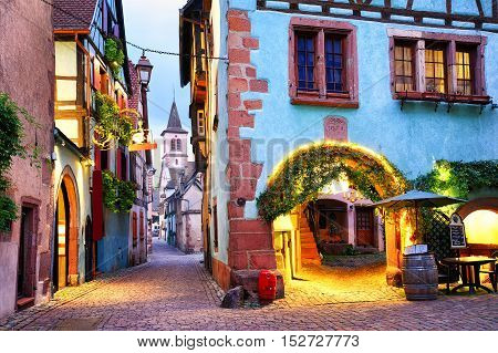 Colorful Town Of Riquewihr, Alsace, France