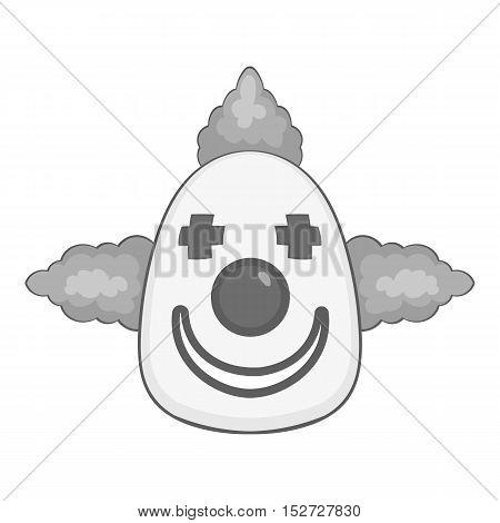 Clown icon. Gray monochrome illustration of clown vector icon for web