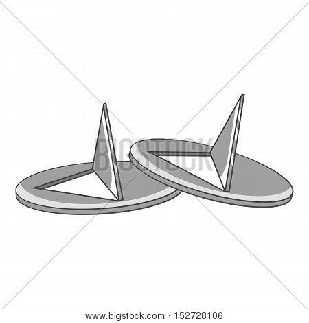 Pushpins icon. Gray monochrome illustration of pushpins vector icon for web