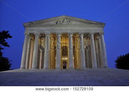 Thomas Jefferson Memorial at night, Washington DC, USA.