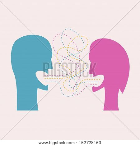 Vector couple conflict, abstract illustration with heads