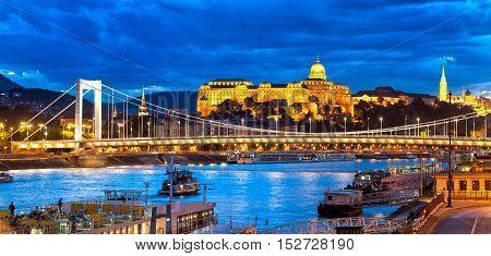 Buda Castle Over Danube River, Budapest, Hungary