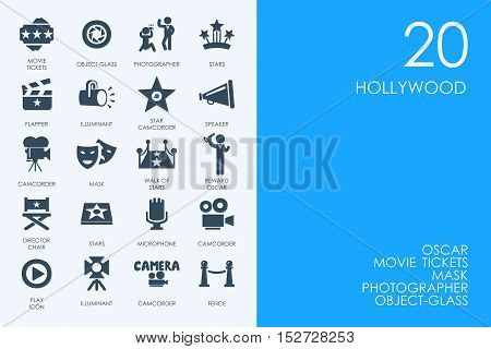 BLUE HAMSTER Library Hollywood vector set of modern simple icons
