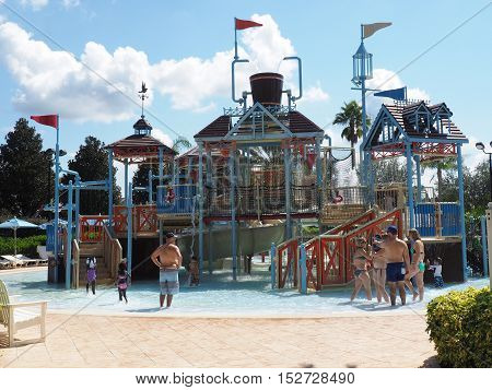 Reunion FL - September 25: tourists spending a hot day cooling down at a water park in Florida