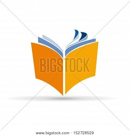Vector sign abstract open book, isolated illustration