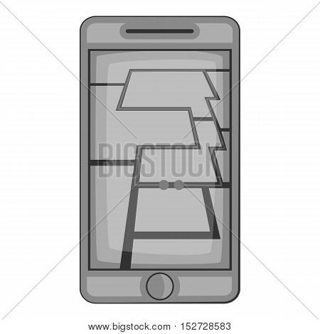 GPS map on phone icon. Gray monochrome illustration of GPS map on phone vector icon for web