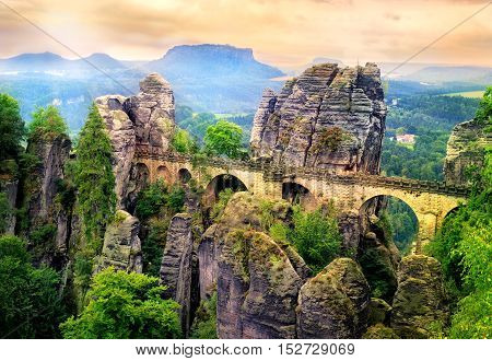 Bastei Bridge In Saxon Switzerland, Dresden, Germany