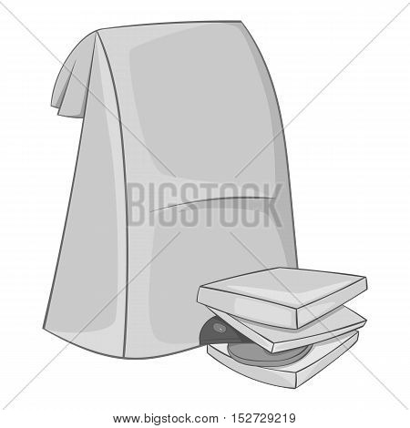 School lunches in package icon. Gray monochrome illustration of school lunches in package vector icon for web