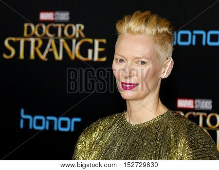 Tilda Swinton at the World premiere of 'Doctor Strange' held at the El Capitan Theatre in Hollywood, USA on October 20, 2016.