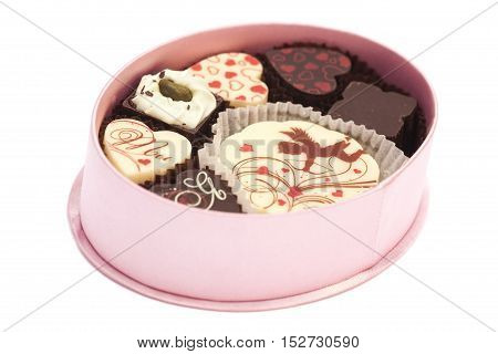 Chocolate candies in gift boxvarious chocolates for Valentines Day isolated on white background