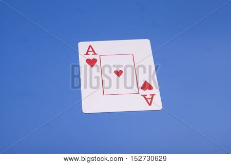 Ace of Heart Ace Playing card on blue background