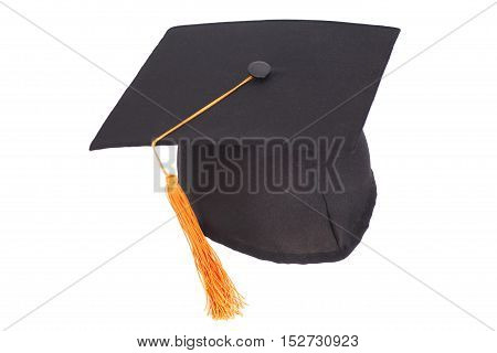 Black Graduation Hat with Gold Tassel isolated on white background.