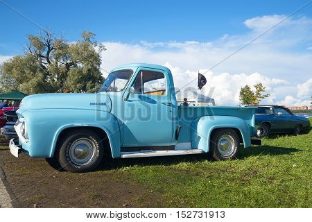 KRONSTADT, RUSSIA - SEPTEMBER 04, 2016: Ford F100 Pickup 1954 model year - the participant of parade of retro cars in Kronstadt