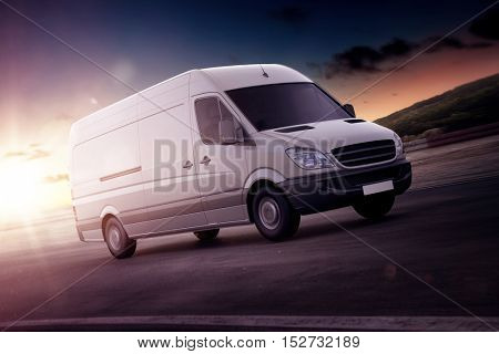 White van for freight haulage speeding along on a freeway backlit by the setting sun in a close up rendering or illustration with copy space. 3d Rendering.