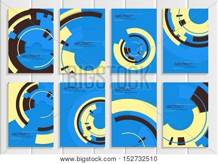Stock vector set of brochures in abstract style. Design business templates with yellow round, dark rectangular shapes on blue background for printed material, element, web site, card, cover, wallpaper