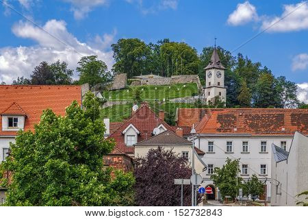 View of Castle Hill with tower in Bruck an der Mur Austria