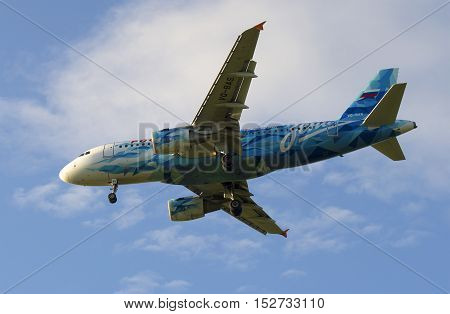 SAINT PETERSBURG, RUSSIA - JULY 24, 2015: Airbus A319-111 (VQ-BAS) of the airline