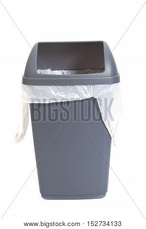Gray garbage can isolated on white background