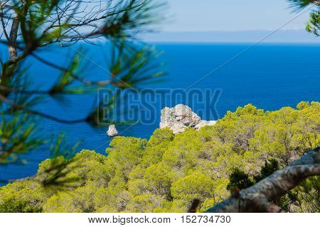 Beautiful sea view from a cliff stock picture