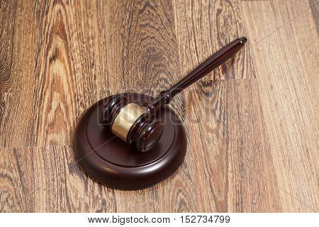 Wooden Judge Gavel And Soundboard On Wooden Background