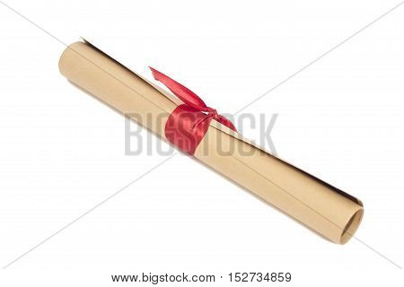 Diploma tied with red ribbon isolated on a white background