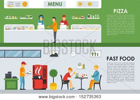 Pizza Menu and Fast Food flat concept web vector illustration. People, Waiter, Visitors. Pizzeria Bistro interior presentation.