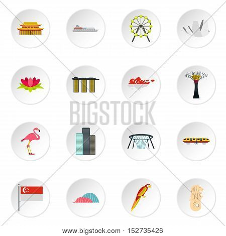 Singapore icons set. Flat illustration of 16 Singapore vector icons for web